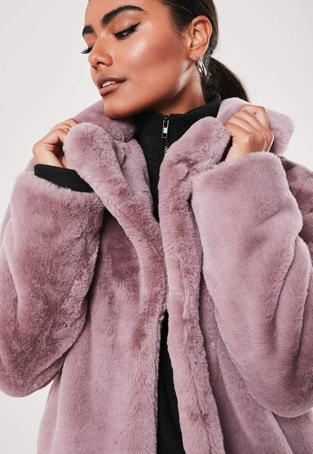 Missguided Lilac Super Soft Faux Fur Coat