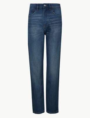 High Waist Straight Leg Ankle Grazer Jeans