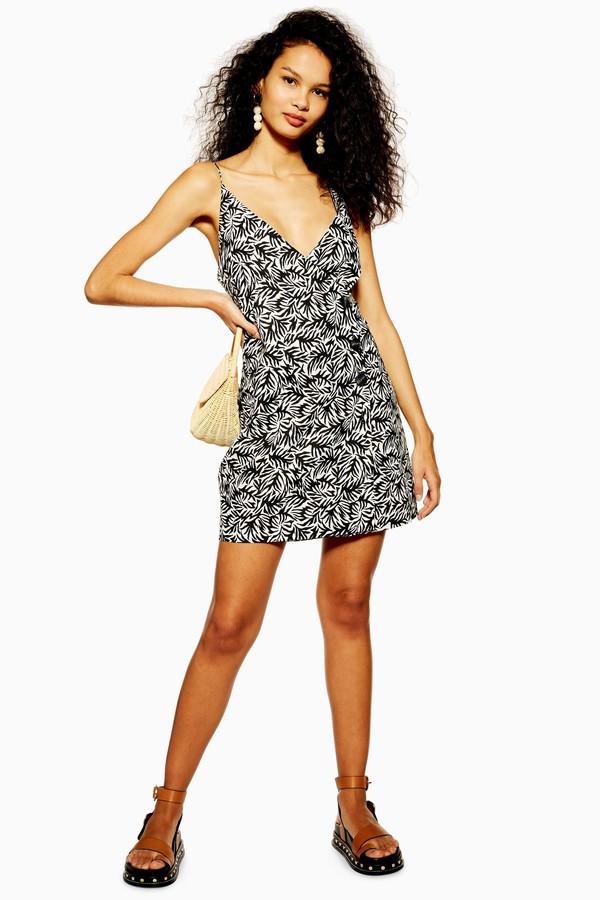 Topshop Womens Linen Blend Button Matisse Mini Dress - Monochrome