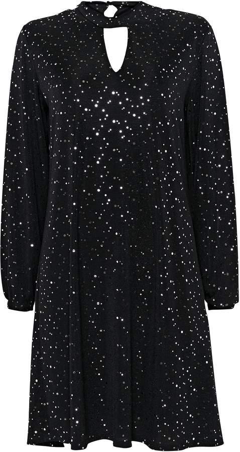 WallisWallis Black Sequin Keyhole Neck Swing Dress