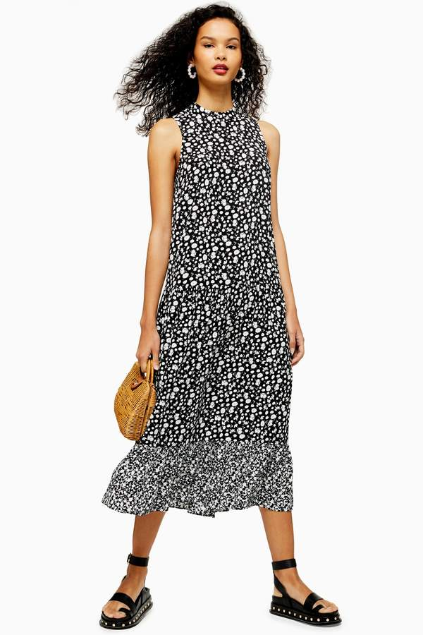 Black and White Floral Sleeveless Dress