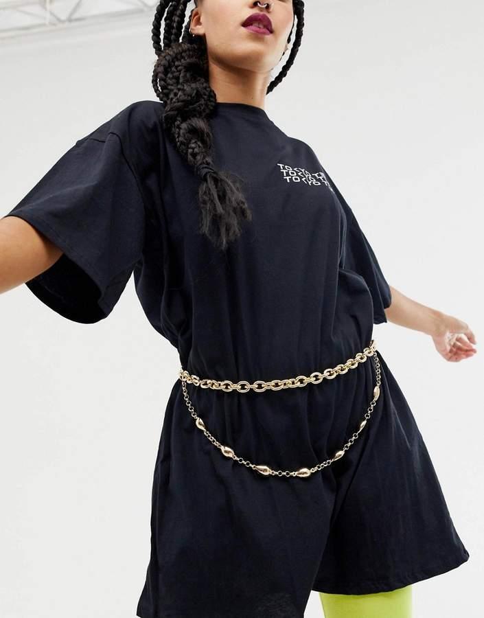 Asos Design ASOS DESIGN shell charm chain waist and hip belt