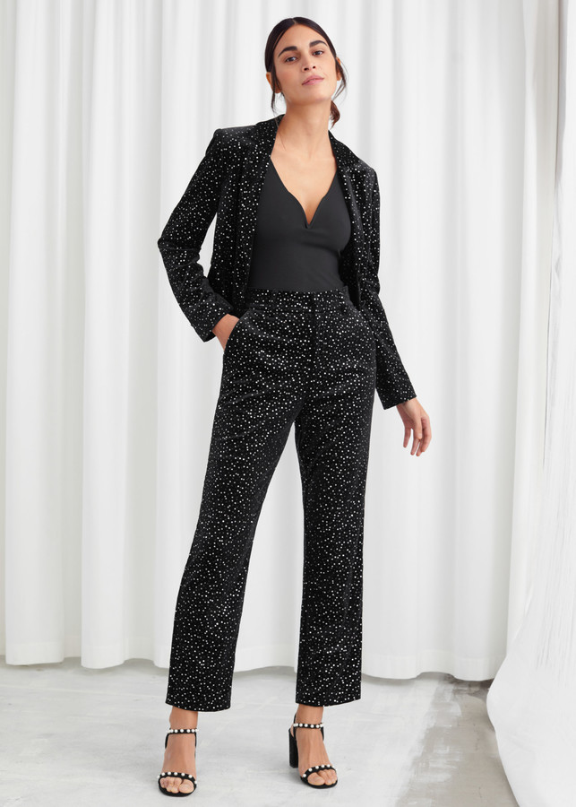And other stories Tailored Velvet Sequined Trousers