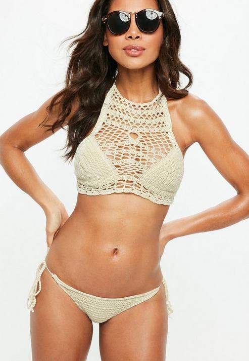 Beige High Neck Tie Side Crochet Bikini Set, Ivory