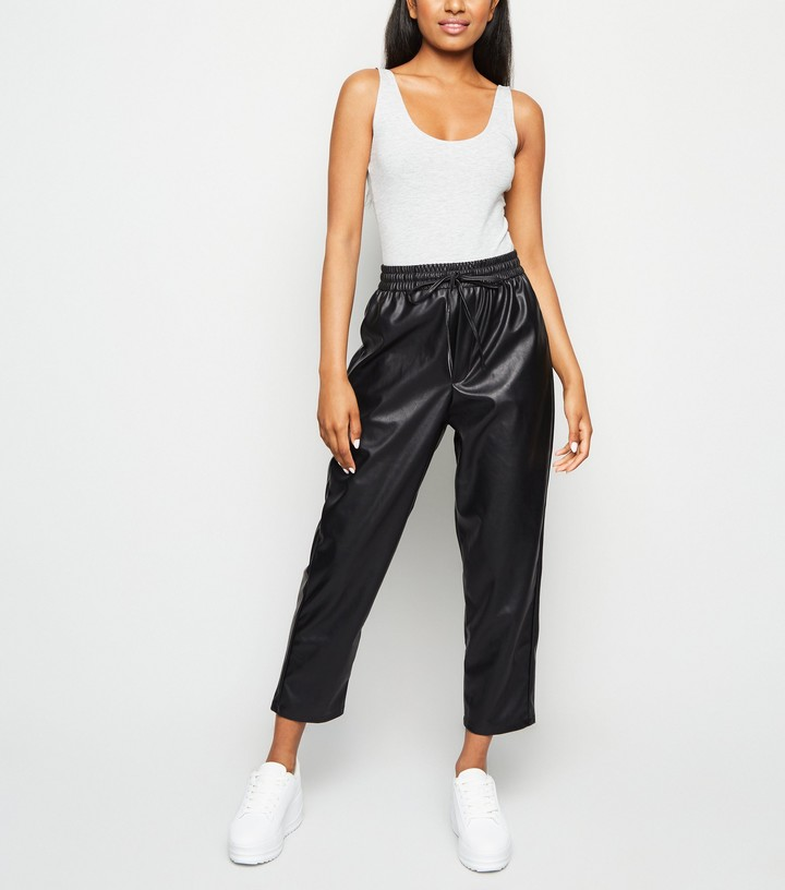 Petite Coated Leather-Look Joggers