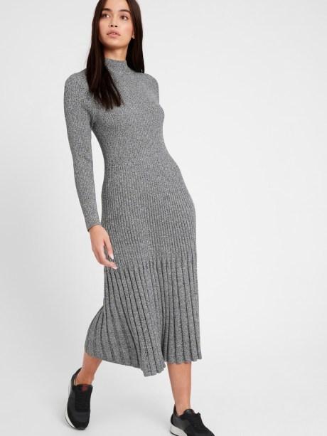 Banana Republic - midi pleated grey sweater dress   hot Fall 2020 fashion dress