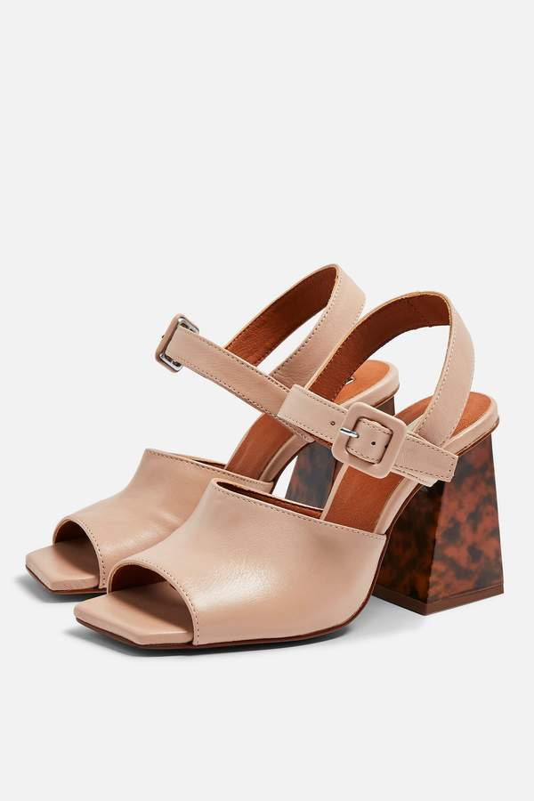 Topshop Womens Rose Marble Heeled Sandals - Nude