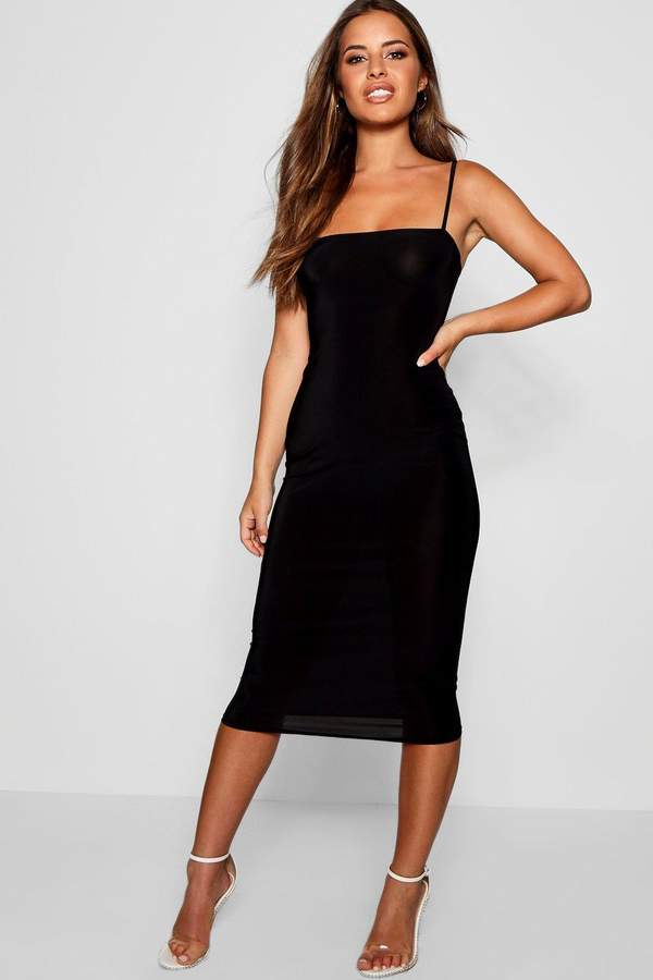 Petite Square Neck Midi Dress