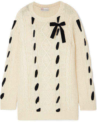 REDValentino - Embroidered Cable-knit Wool Sweater - Cream