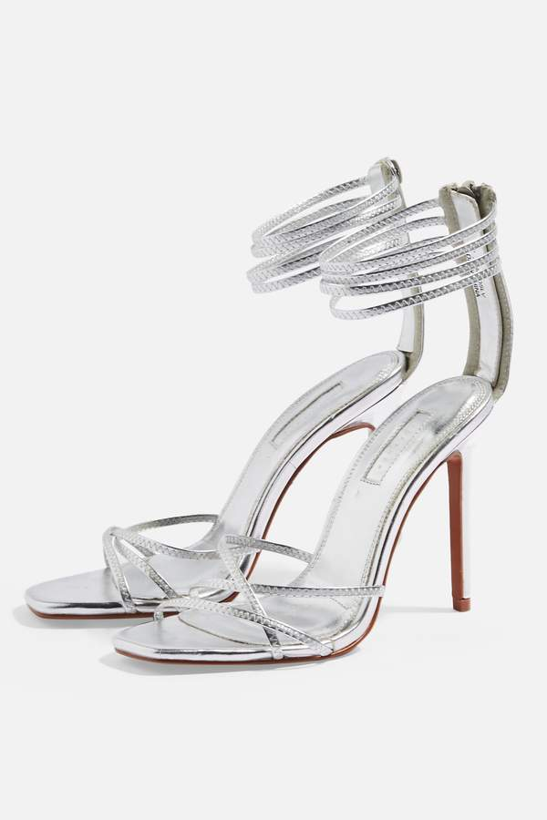 Topshop Womens Rich Strappy Heels - Silver