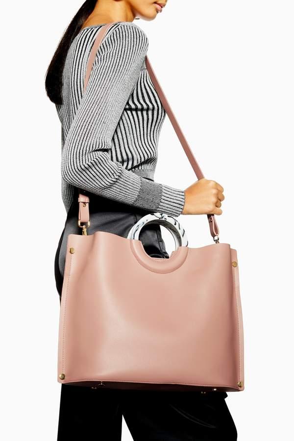 Topshop Womens Milan Marble Handle Tote Bag - Pink