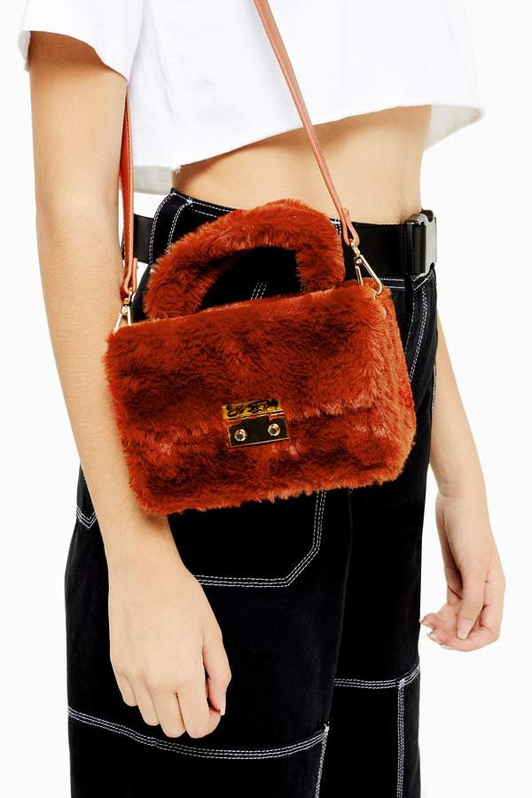 Topshop Womens Fizz Orange Faux Fur Box Grab Bag - Orange