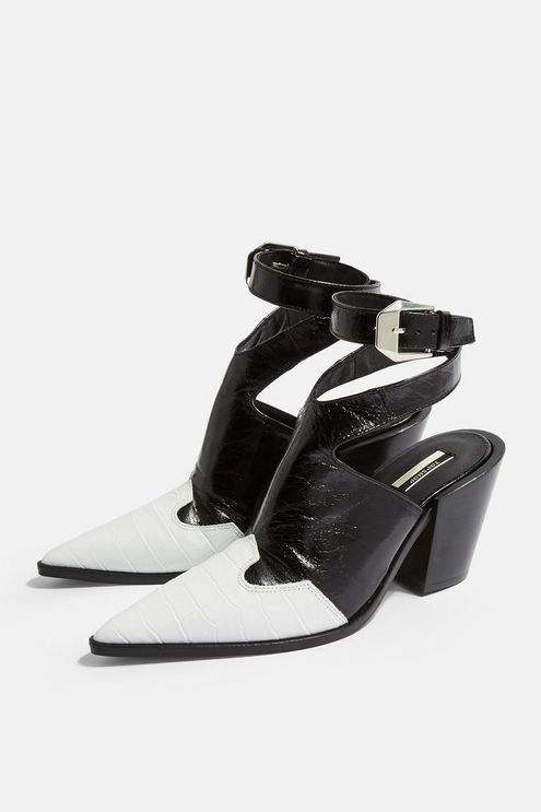 Topshop Womens Huxley High Ankle Boots - Monochrome