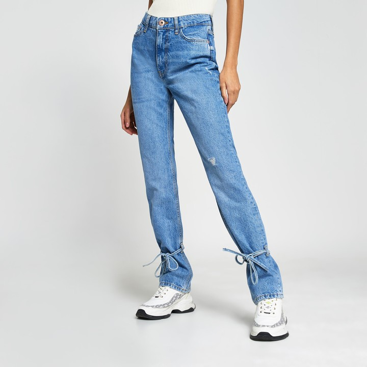 Womens Blue ripped high waisted slim fit jean