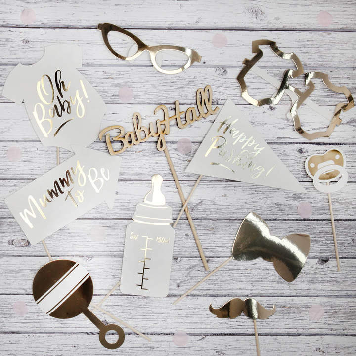 Postbox Party Baby Shower Gold Foil Photo Booth Props