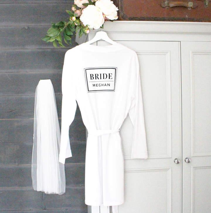 Precious Little Plum 'Bride' Personalised Wedding Robe
