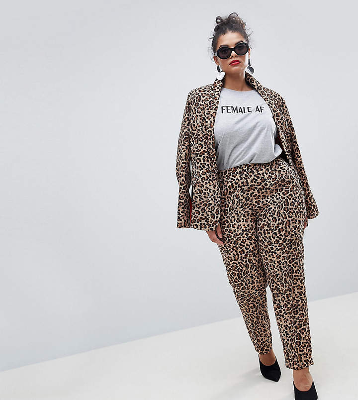 Unique 21 Hero Plus UNIQUE21 Hero Plus Cigarette Trousers In Leopard Print Co-Ord