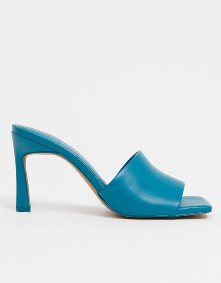 ASOS DESIGN Hattie mid-heeled mule sandals in blue