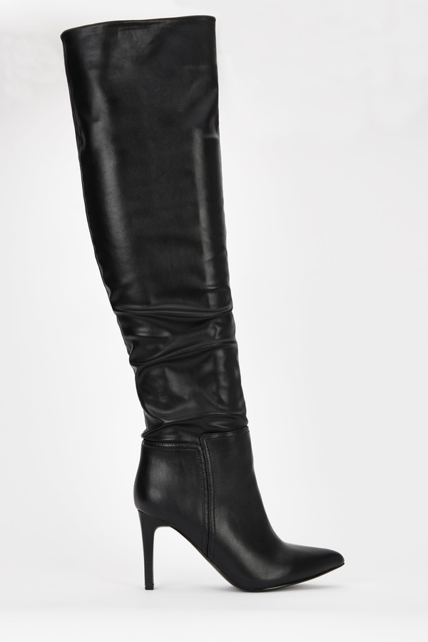 **Black Rouched Over The Knee Boot