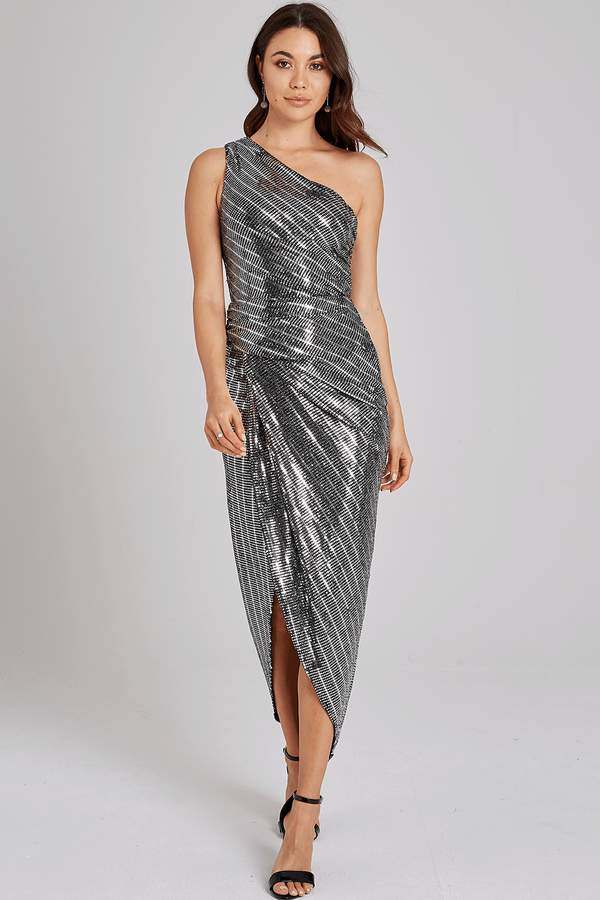 Outrageous Fortune Ellis Silver One-Shoulder Dress