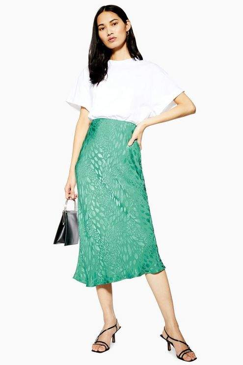 Topshop Womens Animal Jacquard Neon Satin Bias Midi Skirt