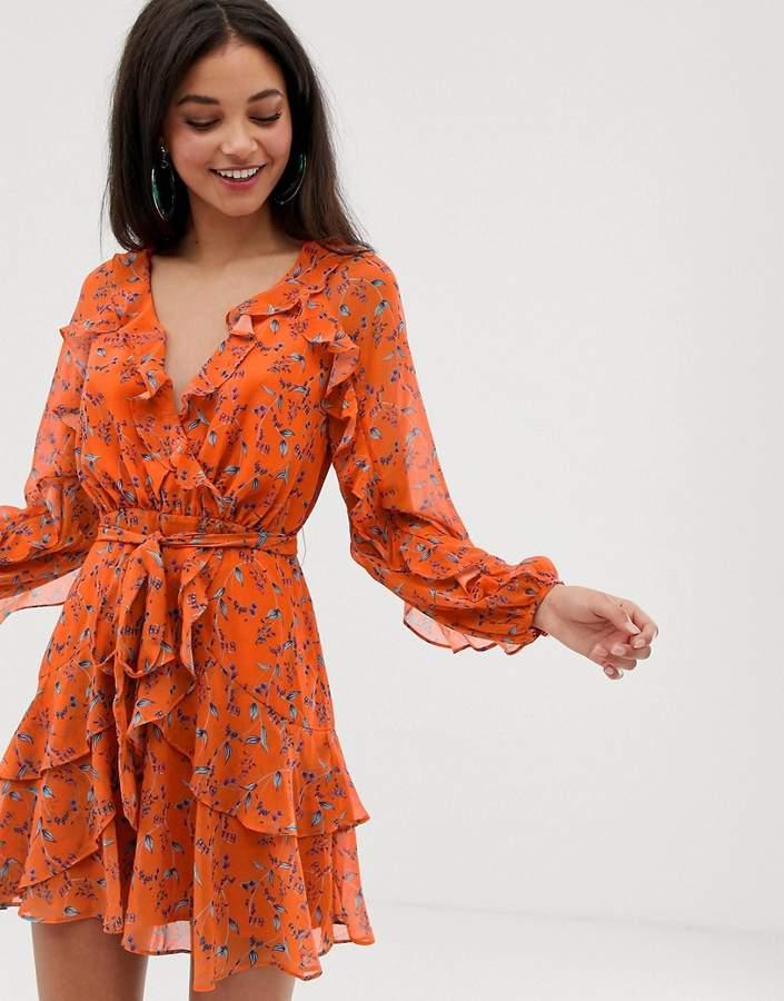 Talulah Daring Day floral print ruffle wrap dress