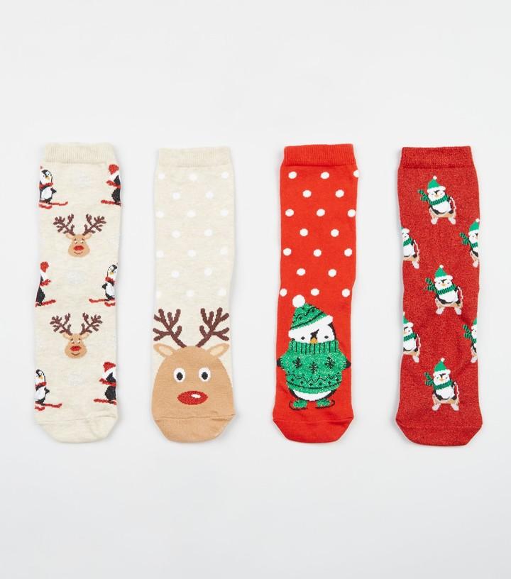 4 Pack Penguin Reindeer Christmas Socks