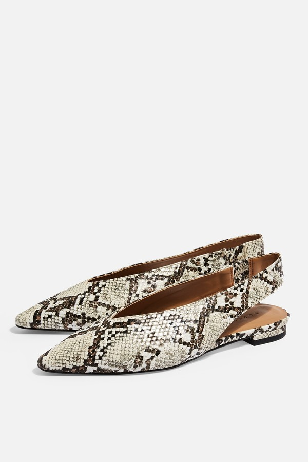 Topshop Womens Abella Snake Slingback Shoes - Natural