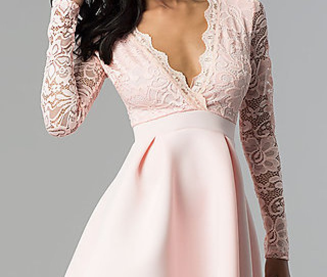 Short Open Back Lace Bodice Sleeved Party Dress