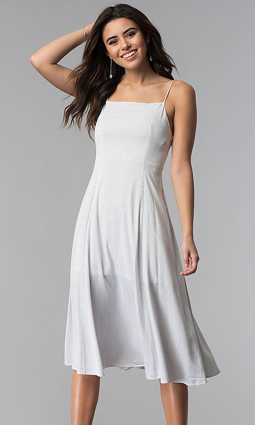 Knee-Length Casual White Party Dress with Dot Print
