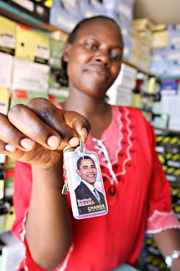 Obama merchandise for sale in Kisumu. Click image to expand.