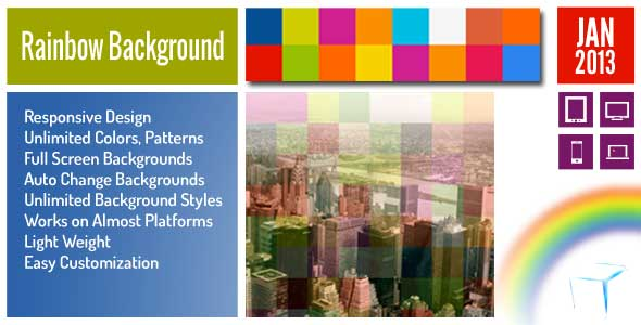 Rainbow Background Full Screen jQuery