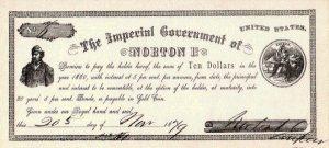 """由""""皇帝諾頓一世""""發布的十元美金。(Wikimedia Commons)"""