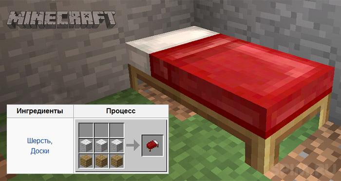 Как скрафтить кровать?