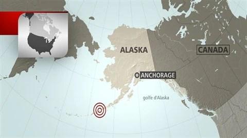 Carte situant l'épicentre du séisme au large de l'Alaska