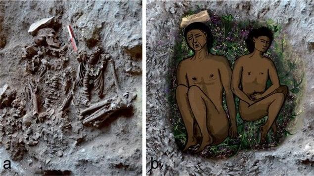 Reconstitution d'une tombe découverte