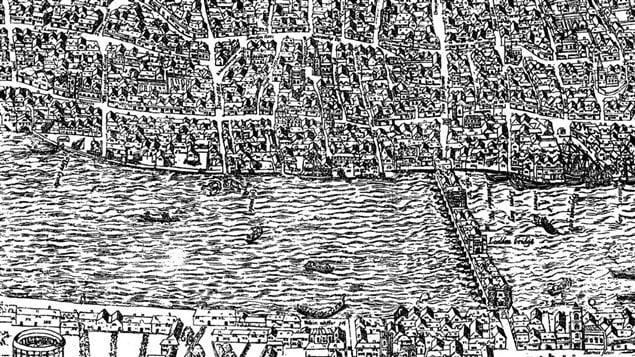 Détail de la carte d'Agas montrant Londres vers 1561