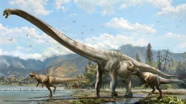 Le Qijianglong, qui aurait vécu il y a 160 millions d'années, possédait un cou extrêmement long, relativement léger et peu mobile. Représentation d'un artiste.