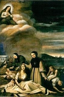 "The painting entitled ""Le Typhus"" by Theophile Hamel shows Montreal nuns caring for sick Irish immigrants."
