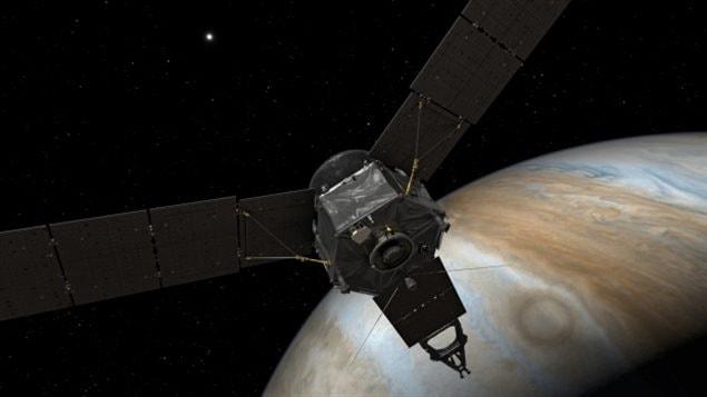 Concepto artístico de Juno acercándose a Jupiter.