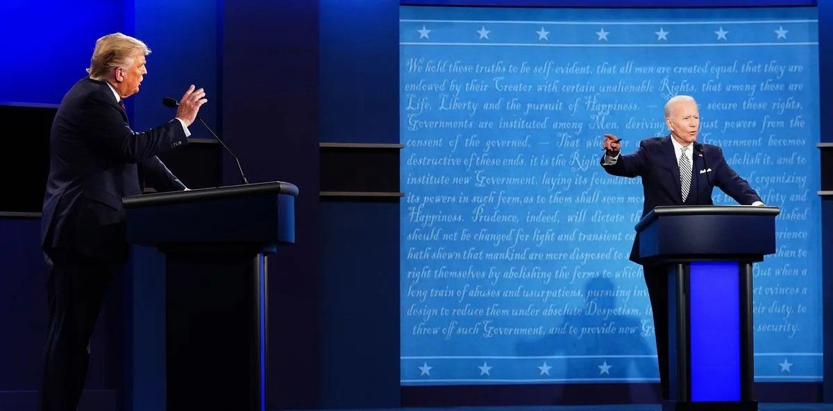 Donald Trump, Joe Biden during a presidential debate.