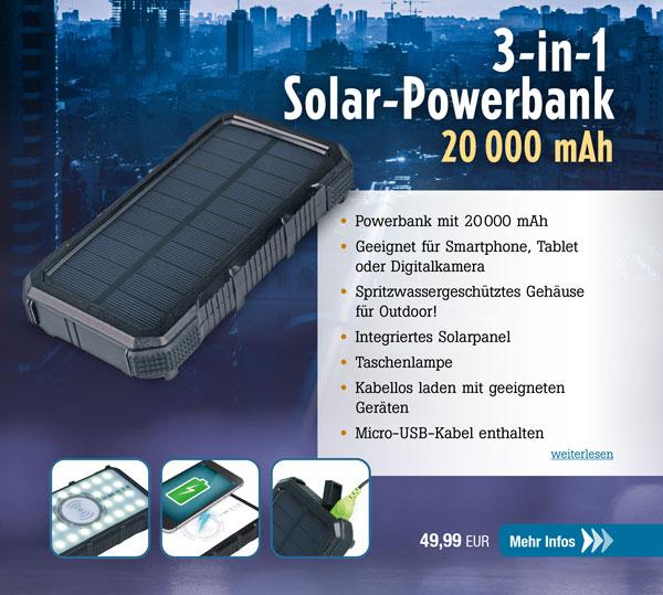 3-in-1 Solar-Powerbank 20.000 mAh