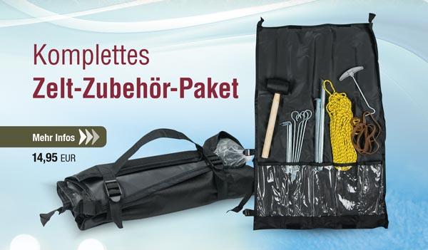 Zeltzubehör-Set (Heringe, Hammer, Leine, etc.)