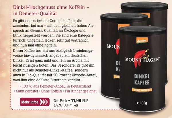 3er-Pack Mount Hagen Demeter Dinkelkaffee - Dose