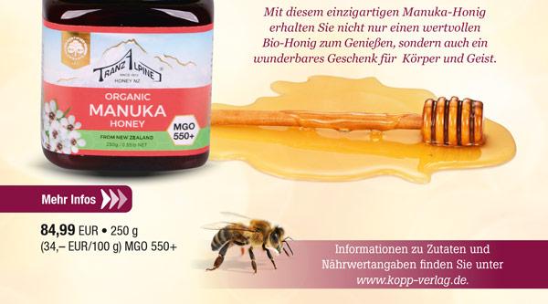Bio-Manuka-Honig aus Neuseeland (MGO 550+)