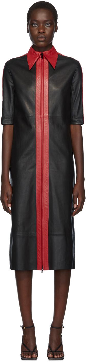 Kwaidan Editions Black & Red Leather Short Sleeve Dress