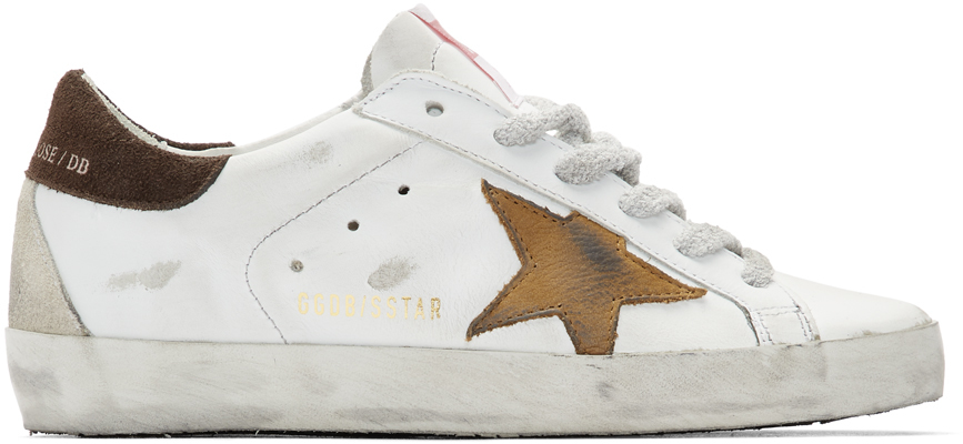 Golden Goose White & Brown Star Superstar Sneakers