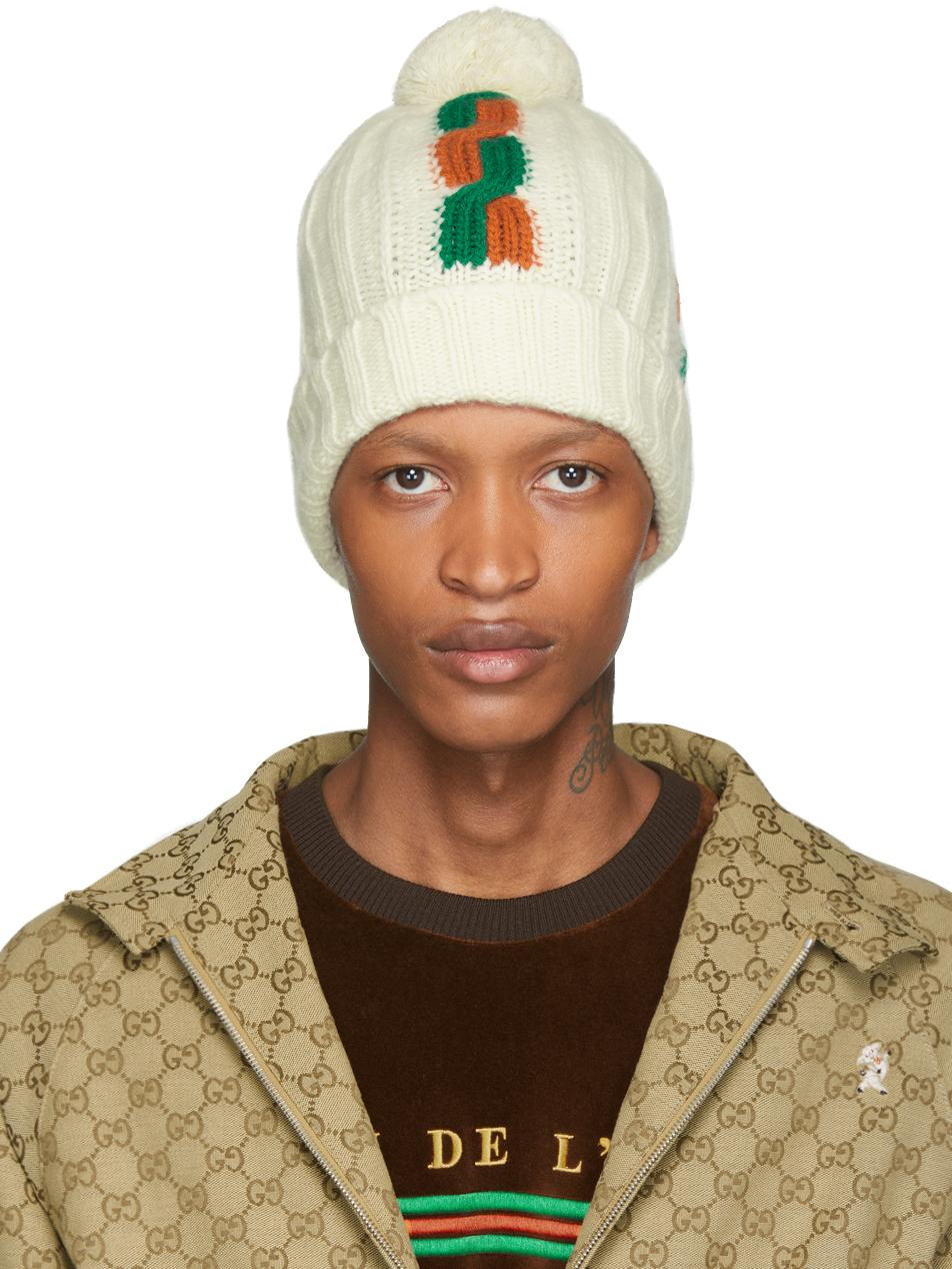 Gucci White Wool Ski Beanie