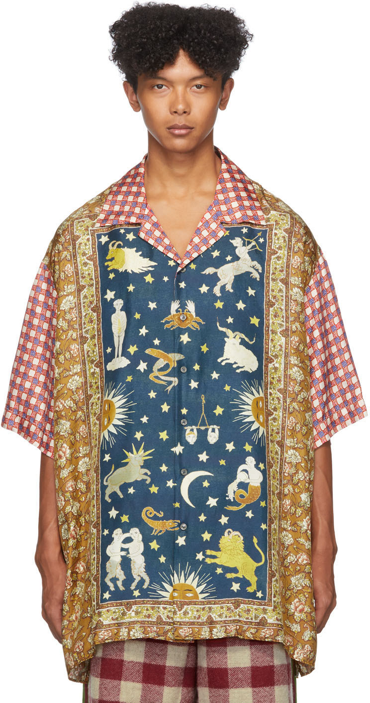 Gucci Multicolor Zodiac Rug Panel Short Sleeve Shirt