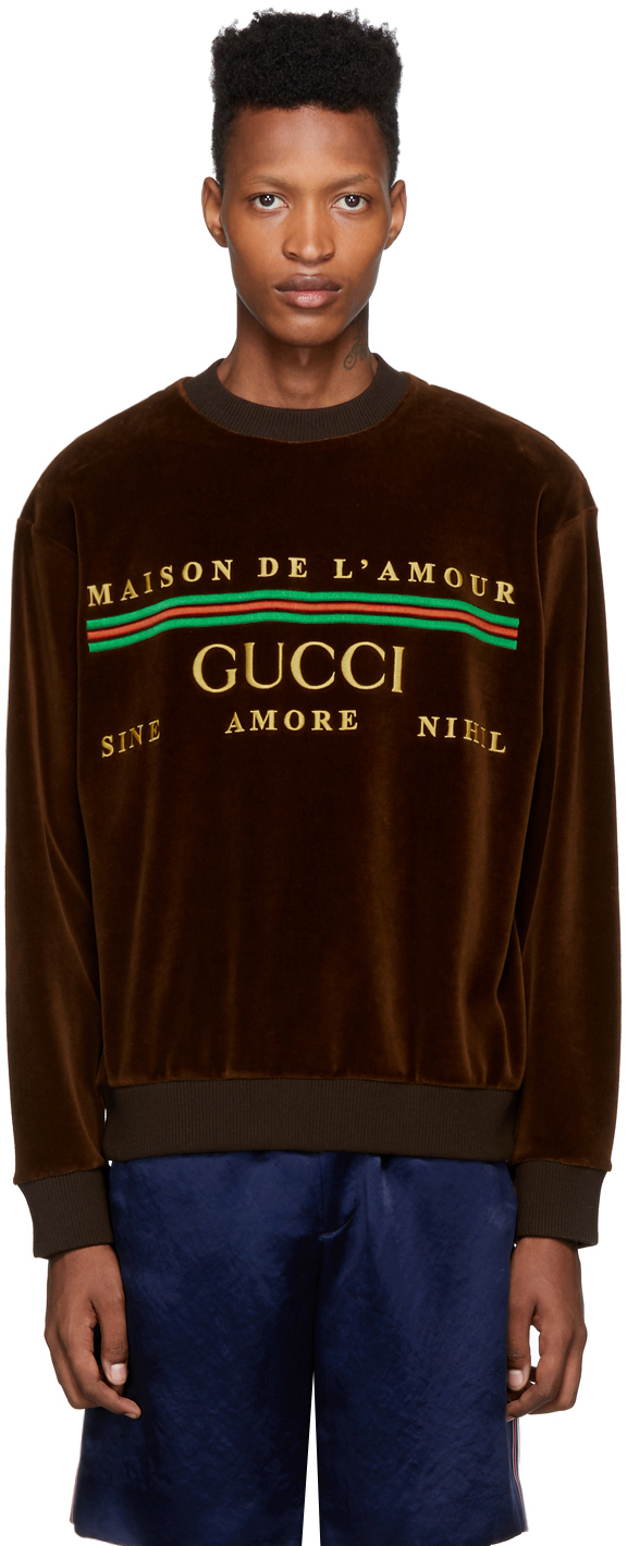 Gucci Brown Chenille 'Maison De L'amour' Sweatshirt